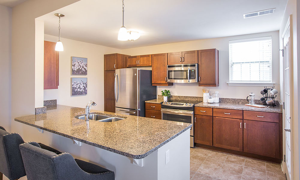 Independent Living Noblewood Apartment kitchen
