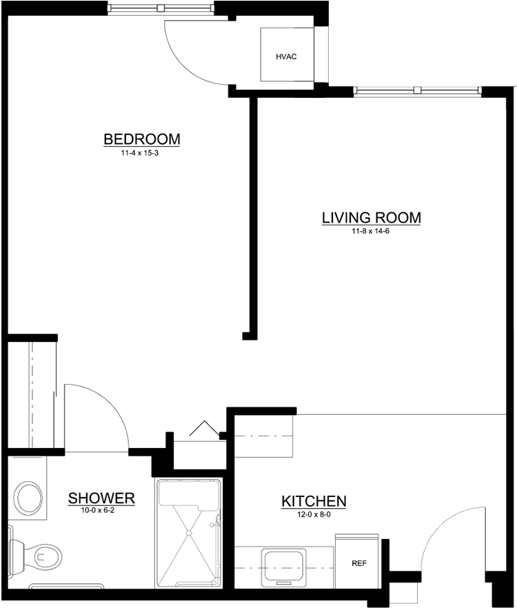 Traditional One Bedroom, One Bath